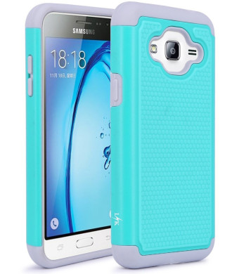J3 Case, Express Prime Case, LK [Shock Absorption] Hybrid Armor Defender Protective Case Cover for Samsung Galaxy J3 / Express Prime (Teal)