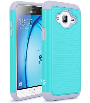 J3 Case, Express Prime Case, LK [Shock Absorption] Hybrid Armor Defender Protective Case Cover for Samsung Galaxy J3 / Express Prime (Teal)