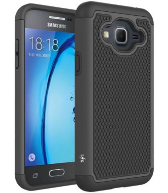 J3 Case, Express Prime Case, Amp Prime Case, LK [Shock Absorption] Hybrid Armor Defender Protective Case Cover for Samsung Galaxy J3 / Express Prime / Amp Prime (Black)