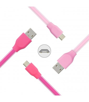 Micro USB Charger, Ansfen 2-Pack 6ft Premium Micro USB Soft Jelly Cables High Speed USB 2.0 A Male to Micro B Sync and Charging Cables for Samsung galaxy S7 edge S6 edge S5, PSP (Rose,Pink)