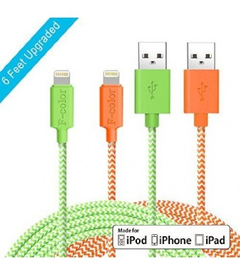 Fcolor iPhone 5 Charger, 2 Pack 6 Ft Long, F-color™ Braided MFi Lightning to USB Cable for iPhone 6S 6 Pl