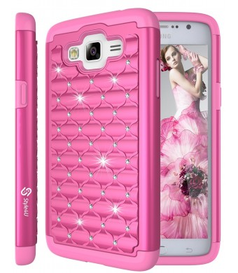 Galaxy Grand Prime Case, Style4U Studded Rhinestone Crystal Bling Hybrid Armor Case Cover for Samsung Galaxy Grand Prime G530 with 1 Style4U Stylus [Hot Pink / Hot Pink]