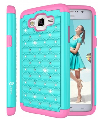 Galaxy Grand Prime Case, Style4U Studded Rhinestone Crystal Bling Hybrid Armor Case Cover for Samsung Galaxy Grand Prime G530 with 1 Style4U Stylus [Teal / Hot Pink]