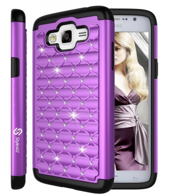 Galaxy Grand Prime Case, Style4U Studded Rhinestone Crystal Bling Hybrid Armor Case Cover for Samsung Galaxy Grand Prime G530 with 1 Style4U Stylus [Purple / Black]