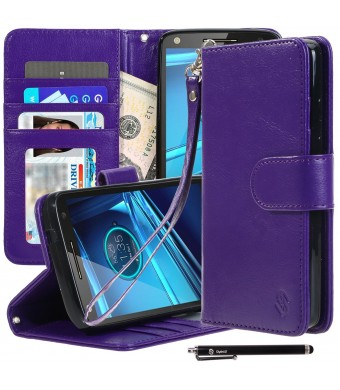 Droid Turbo 2 Case, Style4U Motorola Droid Turbo 2 / Moto X Force Premium PU Leather Stand Wallet Case with ID Credit Card / Cash Slots for Motorola Droid Turbo 2 XT1580 + 1 Stylus [Black]