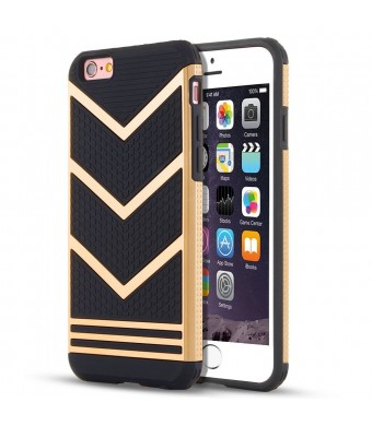 iPhone 6s Case, LOEV Anti-slip Shockproof Armor iPhone 6s Protective Case Ultra Slim Fit Non-slip Grip Rubber Bumper Case Cover for Apple iPhone 6 and iPhone 6s 4.7 inch - Gold Chevron Pattern