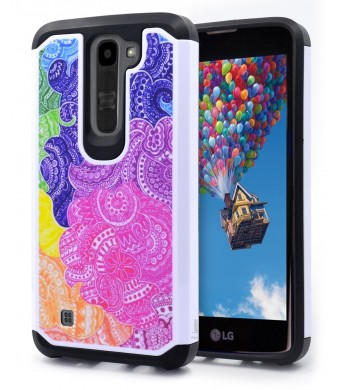 LG K7 Case, LG Tribute 5 Case,NageBee - Design Premium Heavy Duty Defender Dual Layer Protector Hybrid Phone Cover Case for LG K7 and LG Tribute 5 (Hybrid Rainbow Illusion)