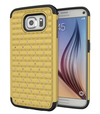 Galaxy S7 Case, Cimo [Shockproof] Heavy Duty Shock Absorbing Hybrid Stud Rhinestone Bling Dual Layer Protection Cover for Samsung Galaxy S7 (2016) - Gold