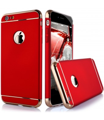 iPhone 6 Case, Anole Ultra-thin 3 in 1 Anti-Scratch Anti-fingerprint Shockproof Resist Cracking Electroplate Metal Texture Armor PC Hard Back Case Cover and Skin for Apple iPhone 6 4.7 Inch (Red)