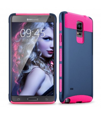 Note 4 case, Samcore Hybrid 2 in 1 Dual Layer Rugged Shockproof Case for Samsung Galaxy Note 4 case cover (Navy Blue/ Pink)