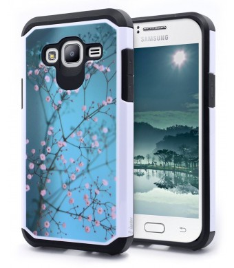 Galaxy J3 Case, Galaxy Amp Prime Case, Galaxy Express Prime Case, NageBee - Design Premium Heavy Duty Defender Dual Layer Protector Hybrid Cover Case (Hybrid Plum Blossom)
