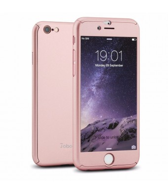 iPhone 6 Case, Juboury Full Body Coverage Protection Ultra Slim iPhone 6 Case with 2 Pieces Tempered Glasses Screen Protector for Apple iPhone 6 (Rose Golden/4.7inch)