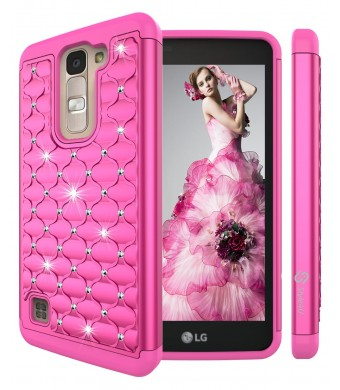 LG K7 Case, LG Tribute 5 Case, Style4U Studded Rhinestone Crystal Bling Hybrid Armor Case Cover for LG K7 / LG Tribute 5 with 1 Style4U Stylus [Hot Pink / Hot Pink]