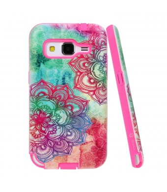 Core Prime Case, Style4U Galaxy Core Prime Hawaiin Flower Design Slim Fit Hybrid Armor Case for Samsung Galaxy Core Prime G360 with 1 Style4U Stylus [Hawaiin Flower Hot Pink]