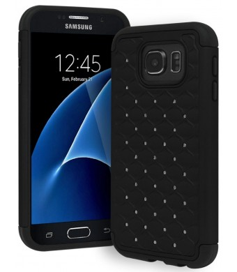 Galaxy S7 Case, Bastex Heavy Duty Slim Fit Hybrid Rubber Silicone Cover with Bling Rhinestone Premium Dual Shock Phone Case for Samsung Galaxy S7 (Black)