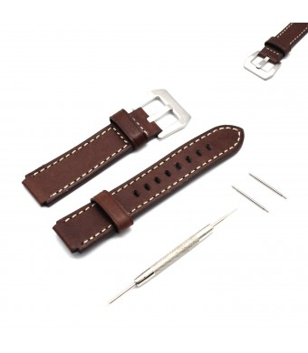 MOTONG 18mm Replacement Italy Genuine Leather Watch Band For HUAWEI Watch (Italy genuine leather Brown)