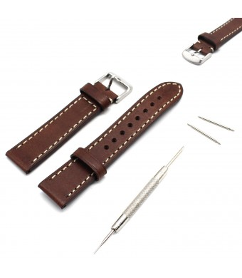 MOTONG 20mm Genuine Leather Watch Band For Samsung Gear S2 Classic,MOTO 360 Watch 2nd Gen,Men's 42mm (Brown)