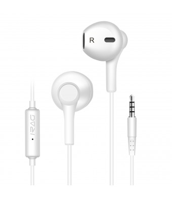 iRAG Earphones with Microphone 592W Premium Earbuds Stereo Headphones and Noise Isolating Made for iPho
