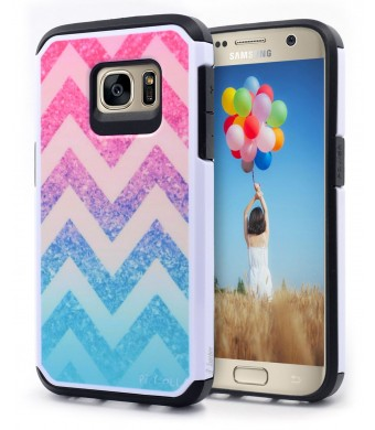 Galaxy S7 Case, Nagebee - Heavy Duty Defender Dual Layer Protector Hybrid Case for Samsung Galaxy S7 (Hybrid Colorful Wave)