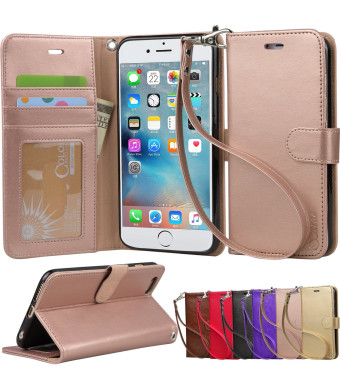 Iphone 6s Plus Case, iphone 6 plus case, Arae [Wrist Strap] Flip Folio [Kickstand Feature] PU leather wallet case with IDandCredit Card Pockets For Iphone 6 plus / 6S Plus 5.5, rosegold