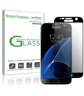 Galaxy S7 Screen Protector Glass (Full Screen Coverage), amFilm Bye-Bye-Bubble Samsung Galaxy S7 Tempered Glass Screen Protector [NOT S7 Edge] Case Friendly Screen Protector 2016