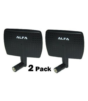 2 Pack of Alfa 2.4HGz 7dBi Booster RP-SMA Panel High-Gain Screw-On Swivel Antenna for Alfa AWUS036H, AWUS036H1W, AWUS036NHV, AWUS036NHR, AWUS036NHA, AWUS051NH, AWUS036EW, AWUS036NEH, AWUS036NH, AWUS050NH, AIPW610H, APA05, WUS048NH and R36