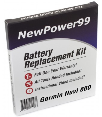 NewPower99 Battery Replacement Kit for Garmin Nuvi 660 with Installation Video, Tools, and Extended Life Batt