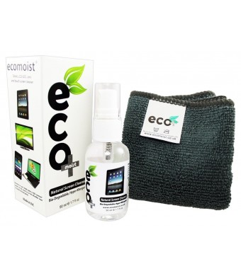 EcoMoist Screen Cleaner KIT + Fine Microfiber Towel - All Natural - MADE IN UK, GREEN PRODUCT, NO AMMONIA A