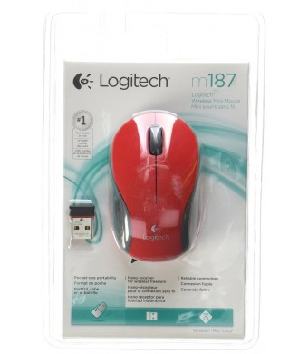 Logitech - Computer Accessories Logitech M187 Optical Wireless Radio Frequency USB Mouse, Red (910-002727)