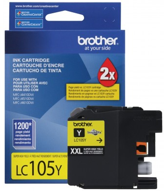 Brother Printer LC105Y Super High Yield Cartridge Ink, Yellow