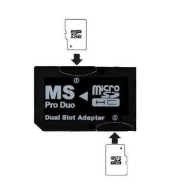 SANOXY Dual MicroSD to MS PRO DUO Adapter (Black) for Sony PSP, Converts Two MicroSD or MicroSDHC Cards to one Memory Stick Pro Duo Card (Bulk Packaged)