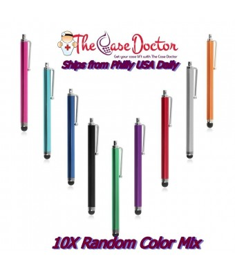 The Case Doctor TCD [10 PACK] Colorful Premium Long Metal Capacitive Stylus Pens [UNIVERSAL] Compatible with ALL T