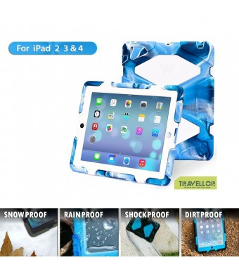 iPad Cases,iPad 2 Case,iPad 3 Case,iPad 4 Case,TRAVELLOR[Heavy Duty] iPad Case,Three Layer Armor Defender And Full Body Protective Case Cover With Kickstand And Screen Protector for iPad 2/3/4 - Camo Blue/White
