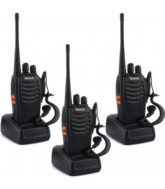Retevis H-777 Walkie Talkies UHF 400-470MHz 3W 16CH CTCSS/DCS VOX with Original Earpiece (3 Pack)