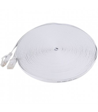 Fosmon Technology Fosmon (50 Feet - White) RJ45 CAT6 Snagless Ethernet Patch Cable [FLAT Tangle Free] - Ultra Speed