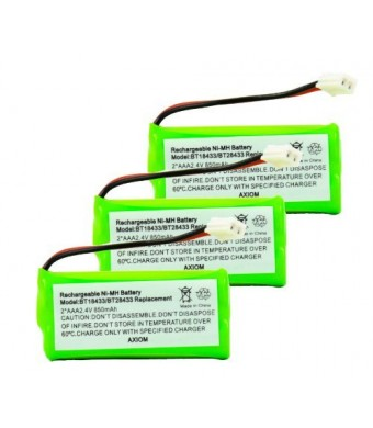 Axiom Rechargeable Battery For ATandT/Lucent BT18433/BT28433 Cordless Phone 3Pack