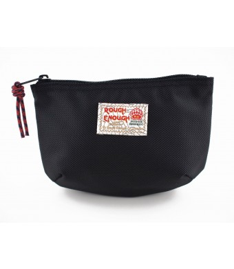 Rough Enough Classic Funny Small Pouch for Macbook, Macbook Air Adaptor, Cables, Small Stuffs, Computer Accessories, Vintage, Funny , Fun and Basic. (Black)