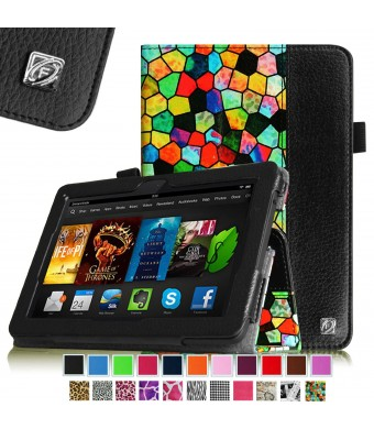 "Fintie Folio Case for Fire HDX 7 - Slim Fit Leather Standing Protective Cover with Auto Sleep/Wake (will only fit Kindle Fire HDX 7"" 2013), Stained Glass Mosaic"