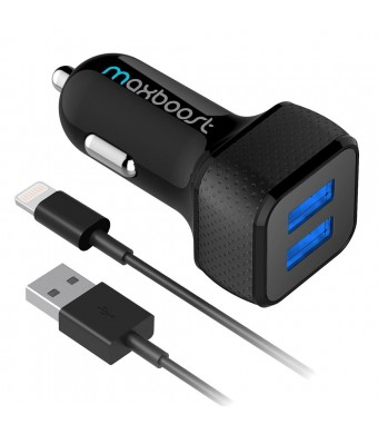 Maxboost 4.8A/24W 2 Smart Port Car Charger with 3ft Lightning Cable Output [Apple MFI Certified][Black] For iPhone 6/6S Plus5S 5 5C 4S, iPad Pro/Mini, iPod; Galaxy S7 S6 Edge, Note 6 5 and More