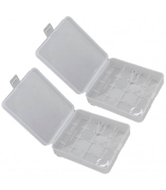 MBS 2 x White Clear Plastic Protective Storage Case Holder for 4 x 18650 Batteries OR 8 CR123A Batteri