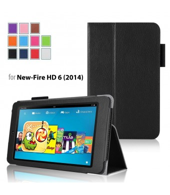Case for Fire HD 6 - Elsse Premium Folio Case with Stand for Fire HD 6 (Oct, 2014 Release) - Black