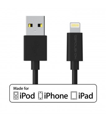 ZeroLemon Lightning to USB Plastic PVC Cable 3.2 Feet / 1 Meter + Enhanced Plastic Cap for iPhone, iPod and iPad [2 Year Warranty],[Apple MFi Certified] -PVC Black