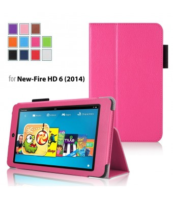 Case for Fire HD 6 - Elsse Premium Folio Case with Stand for Fire HD 6 (Oct, 2014 Release) (Hot Pink)