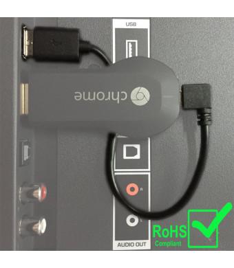 Exinoz Chromecast USB Cable -- 8 Inch USB Cable and Bonus Chromecast eBook. Designed to Power Your Google