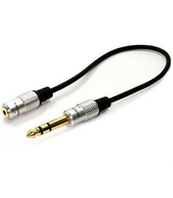 HengSheng Metal 6. 35mm 1/4 Inch Stereo Plug male to 3. 5mm Stereo Jack female cable - Gold Plated