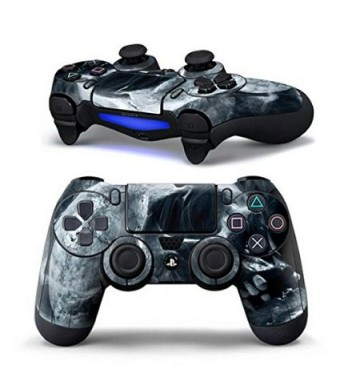 Mod Freakz Sci Fi and Fantasy Pair of Vinyl Decal Controller Sticker Skins for PS4 (Smoking Skull Missing Tee