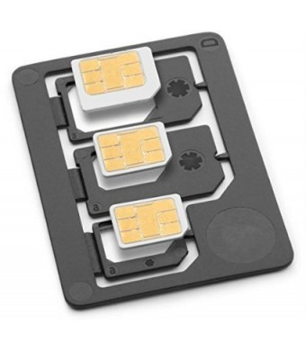 Saapni Sim Adapter - Nano To Micro, Nano To Full, Micro To Full Adapters, Made in Germany, Black