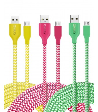 OKRAY 3 Pack 10ft 3M Durable Braided Nylon Tangle-Free Micro USB 2.0 to USB Charge Cable Sync Charging Charger Cord for Android, Samsung, HTC, Google Nexus, Sony, Nokia, LG (Green Yellow Hot Pink)