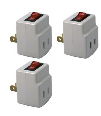 BindMaster Single Port Power Adapter for outlet with On/Off Switch to be energy saving - 3 Pack