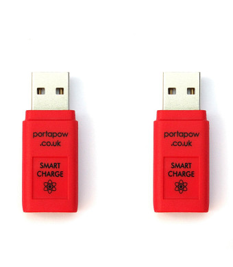 PortaPow Fast Charge + Data Block USB Adaptor with SmartCharge Chip (2 Pack)